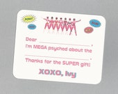 Pink Power Rangers - Fill in the Blank Thank You Notes - Great for Girl's Birthday Thank You Cards