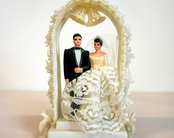 Vintage 1960s Plastic Arch Wedding Cake Topper