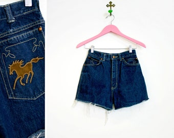Vintage 1980s-90s High Waisted Denim Shorts with leather HORSE on Back Pocket
