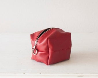 Red leather makeup bag,beauty case,accessory bag,vanity storage,utility bag,beauty storage case,diaper zipper pouch - Cube