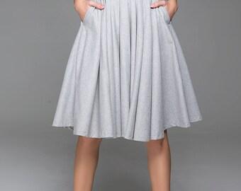 flare skirt,Gray Skirt, wool skirt , winter skirt, knee length skirt, pleated skirt, light grey skirt, skirt with pockets, circle skirt 1434