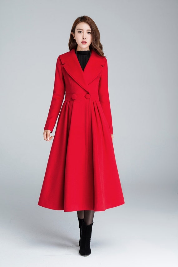 Princess coat red coat pleated coat elegant coat wool