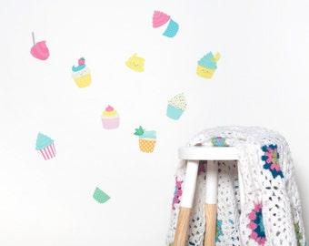 Nursery Wall Decals - Cupcake Toys Art Removable Fabric Vinyl Kids Playroom Nursery Sticker Wall Art Repositionable