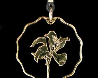 Cut Coin Jewelry - Pendant - China - Hong Kong - Bauhinia Flower