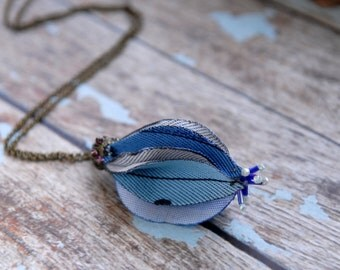 Blue flower bud necklace, Flower necklace,  Fabric Jewlery ,OOAK, TAGT Team