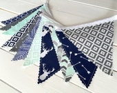 Bunting Banner, Boy Nursery Decor, Birthday Decoration - Navy Blue,Mint Green,Gray,Buck Head,Stag,Tribal Nursery,Arrow,Deer,Woodland,Buck