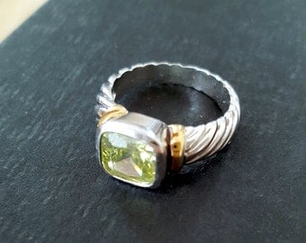 SALE>>>Gorgeous Designer Style Sterling 925 and 14k gold over Peridot Solitaire Ring. Etsy Gift. Jewelry Gift Ring. Gift for Her