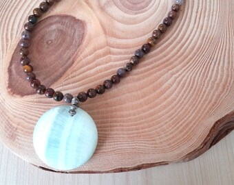 SALE... Beautiful Hemimorphite Ice Blue and Jasper GlamROX Necklace. Perfect Jewelry Gift. Gift for her. ETSY Gift