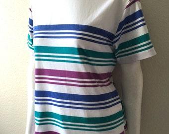 Vintage Women's 80's Jantzen T Shirt, Striped, Short Sleeve (M)