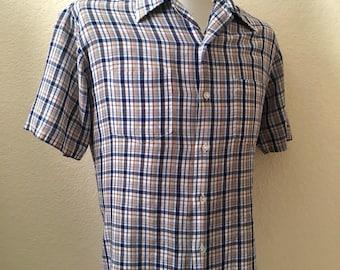 Vintage Men's 80's Plaid Shirt, White, Blue, Tan, Button Down, Short Sleeve by JC Penney (M)