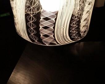 White Latticino Hanging Pendant Light