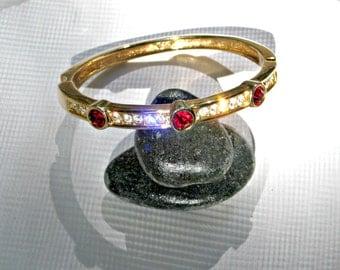Rhinestone Bracelet Vintage Jewelry Red White Signed ROMAN