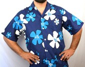 Vintage 1970s Sears Hawaiian Floral Button Up Shirt - AND Matching Shorts - Outfit Summer Beach Set
