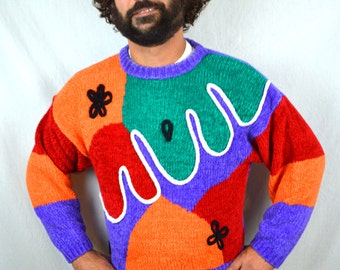 Vintage 1980s Rainbow FUN Party Sweater - One Step Up