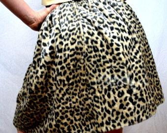 Vintage Faux Leopard Print 1950s 50s Skirt - Gordon & Marx of California