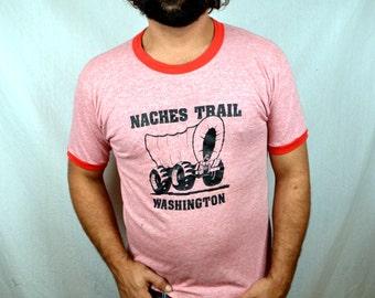 Vintage Red Ringer Tee Shirt Triblend Tshirt - Naches Trail Washington - Sportswear Tag XL