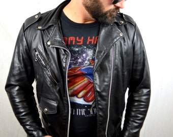 Great Vintage Black Leather Coat Punk Rocker Biker Motorcycle Jacket