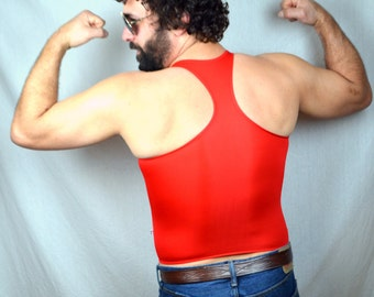 Vintage Red Male Power Spandex Beach Shirt Tank Top