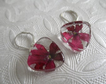 Passion Red Verbena Pressed Flower Glass Triangle Leverback Earrings-Symbolizes Enchantment-Nature's Wearable Art-Gifts Under 25