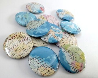 Vintage World Atlas Map Badges 45mm / Gifts for Geography Geeks!