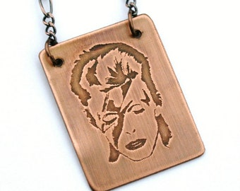 David Bowie Etched Copper Necklace with Antiqued Copper Chain, 20 gauge copper, handcrafted, Ziggy Stardust, Rock Music