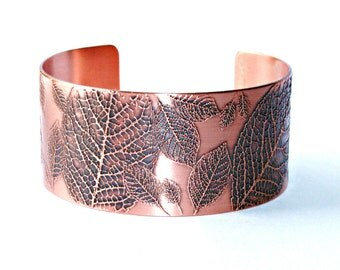 LEAVES Copper Cuff Bracelet, Etched Solid 18 gauge Copper, Floral, Nature, Boho, Handcrafted, Gift for Her
