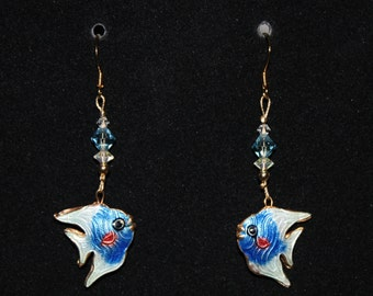 Blue, White and Gold Cloisonne Fish Earrings