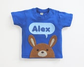 Organic Bunny Personalized Baby T-Shirt, Baby Shower Gift, Baby Boy