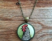 Barred Rock Chicken Necklace, Hand Painted Pendant, Original Watercolor Art