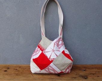Patched History Bag - Bright Red and White Patchwork