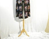 Black Silk Whimsical Butterfly Vintsge Sweelo Sequine Beaded Jacket Punk Party Evening Wear M