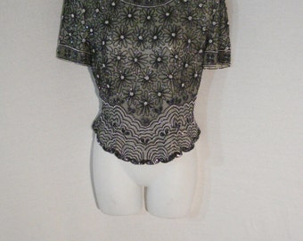 Silk Beaded Papell Boutique Evening Wear Blouse Formal Gray Top Black Silver Beads M
