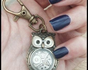 Steampunk Owl Keychain, Owl Key Chain, Vintage Watch, Bronze Owl, Woodland, Key Fob, Steampunk Owl Robot, TEACHER GIFT, Wedding, Birthday