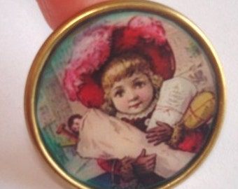 Child in Hat  with Gifts Brooch