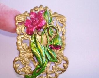 Red Flower Vintage Jewelry  Brooch