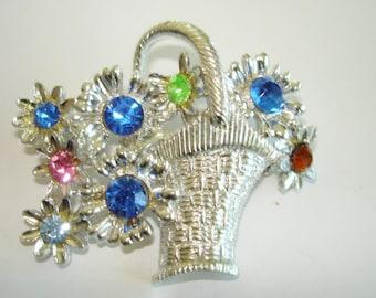 Signed Dodds Rhinestone Flower Basket  Brooch Silver Tone