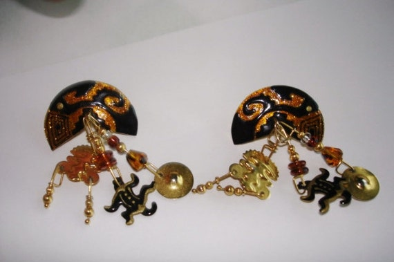 lunch at the ritz black gold jungle animals vintage jewelry
