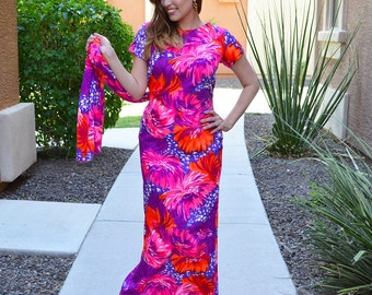 60s Evening Dress Pink and Purple Psychedelic Print Open Back With Train 60s Party Dress Epsteam