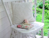 Pillow, Cream on Cream Embroidery, Decorative Pillow, Country Decor, Cottage Charm, Shabby French Vintage, by mailordervintage on etsy