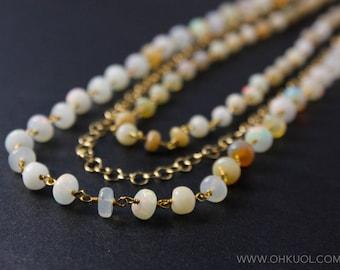 White Opal Layered Necklace – Boho Beaded Necklace