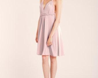 SALE 20% OFF Short rose quartz bridesmaid dress, short pink dress, light pink infinity dress, infinity dress, short pink bridesmaid dress