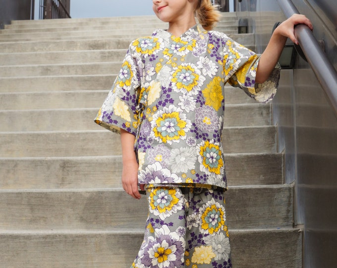 Kids Kimono Jinbei - HEATHER GARDEN - Japanese loungewear kimono outfit pajamas