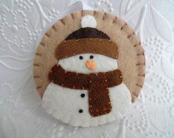 Primitive Snowman Ornament Felt Scarf And Hat Penny Rug Christmas Tree Decoration