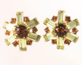 Vintage Gold Tone Yellow and Topaz Rhinestone Clip Earrings (E-1-1)