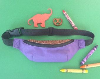 Purple and Cheetah Print Kids Fanny Pack