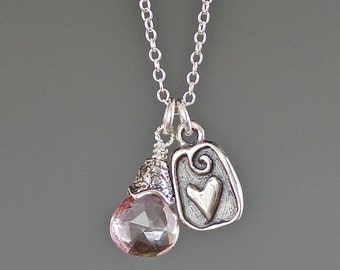 Pink Quartz Necklace - Silver Heart Charm Necklace - Bali Silver - Pink Gemstone Necklace - Mystic Quartz - October Birthstone - Gift