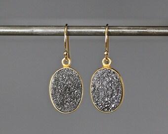 Black Druzy Earrings - Druzy Quartz Earrings - Black and Gold Earrings - Druzy Jewelry - Evening Jewelry - Sparkling Earrings - Gift