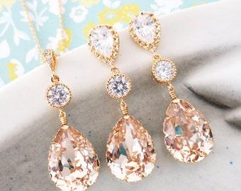 Paulette - Swarovski Light Silk Teardrop Crystal Earrings and Necklace Set, Bridesmaid, Bridal Wedding Jewelry, Cubic Zirconia earrings