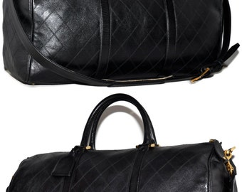 "CHANEL Paris 20.25"" Inch Quilted Calfskin Leather Carry On Duffle Weekend Black Travel Bag"