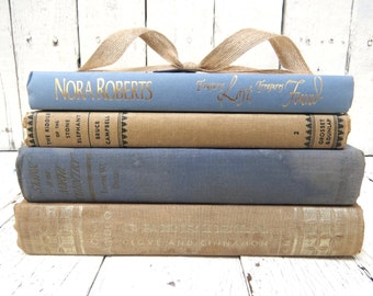 Blue and Beige Books, Vintage Books, Old Book Decor, Antique Books, Home Office Decor, Instant Library, Interior Design, Shabby Cottage Chic